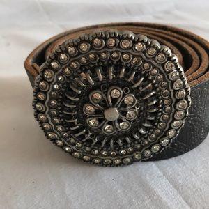 Fossil women's black leather belt Sz M